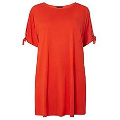 Dorothy Perkins - Curve red cold shoulder tie t-shirt