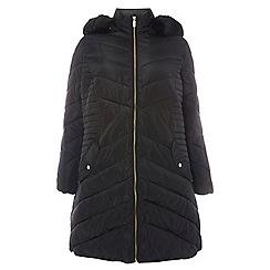 Dorothy Perkins - Curve black faux fur puffa jacket