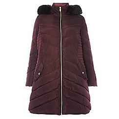 Dorothy Perkins - Curve burgundy faux fur hooded puffa jacket
