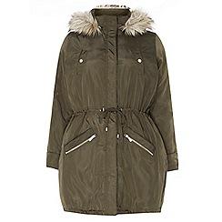 Dorothy Perkins - Curve khaki faux fur parka coat