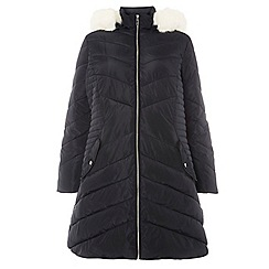 Dorothy Perkins - Curve black faux fur trim puffer jacket