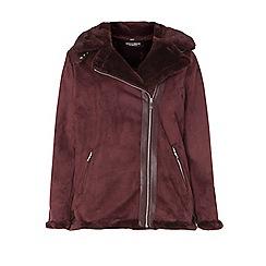 Dorothy Perkins - Curve burgundy shearling biker jacket