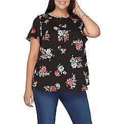 Dorothy Perkins - Curve floral flutter sleeves t-shirt