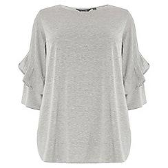 Dorothy Perkins - Curve grey twist ruffle sleeves t-shirt