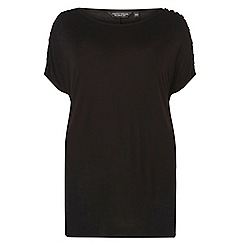 Dorothy Perkins - Curve black pearl sleeves t-shirt