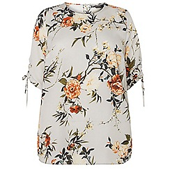 Dorothy Perkins - Curve grey floral print gathered sleeves blouse