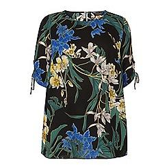 Dorothy Perkins - Curve black floral print gathered blouse