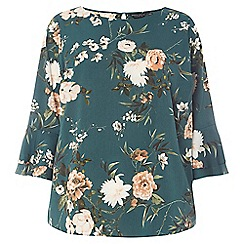 Dorothy Perkins - Curve green floral print double layer sleeves top
