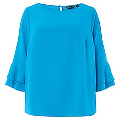 Dorothy Perkins - Curve blue double frill sleeves top