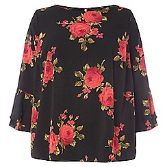 Dorothy Perkins - Curve black floral print double layer top