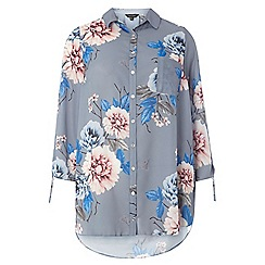 Dorothy Perkins - Grey floral drawcord shirt