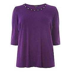 Dorothy Perkins - Curve purple pearl puff sleeves t-shirt