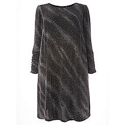 Dorothy Perkins - Curve black shimmer ruched sleeves skater dress