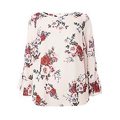 Dorothy Perkins - Curve blush floral print tie cuff top