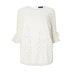 Dorothy Perkins - Curve white spotted tie sleeves top