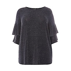 Dorothy Perkins - Curve navy double layer sleeves shimmer top