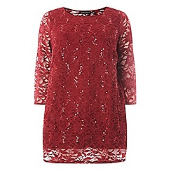 Dorothy Perkins - Curve wine sequin embellished lace top