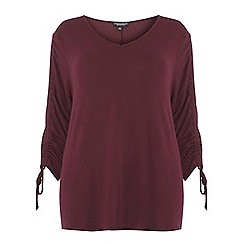 Dorothy Perkins - Curve aubergine v-neck ruched sleeve top