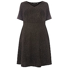Dorothy Perkins - Curve black metallic fit and flare dress