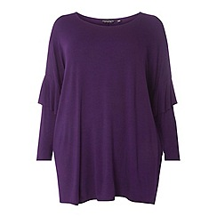 Dorothy Perkins - Curve purple frill sleeves jersey top