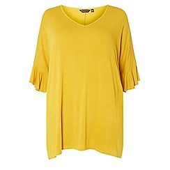 Dorothy Perkins - Curve yellow v-neck flute sleeve top