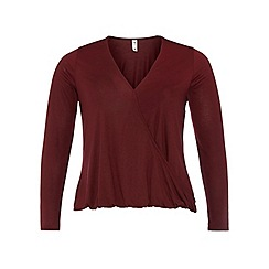 Dorothy Perkins - Dp curve wine long sleeve wrap top