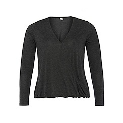 Dorothy Perkins - Dp curve grey marl long sleeve wrap top