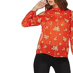 Dorothy Perkins - Red floral cold shoulder top