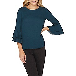 Dorothy Perkins - Turquoise double ruffle top