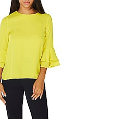 Dorothy Perkins - Lime green double ruffle top