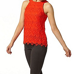 Dorothy Perkins - Red cutaway lace shell top