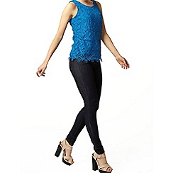 Dorothy Perkins - Blue crochet lace shell top