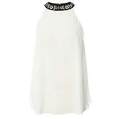 Dorothy Perkins - Embellished ivory and black cutaway top