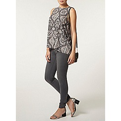 Dorothy Perkins - Navy paisley high neck top