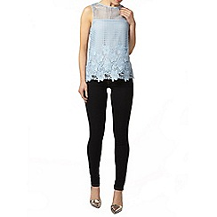 Dorothy Perkins - Pale blue crochet lace shell top