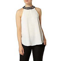 Dorothy Perkins - Ivory and black daisy embellished cutaway top