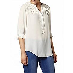 Dorothy Perkins - Ivory sheer detail rollsleeve shirt