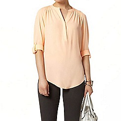 Dorothy Perkins - Peach roll sleeve shirt