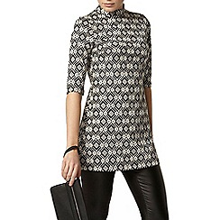 Dorothy Perkins - Black and white jacquard tunic top