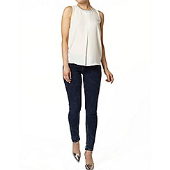 Dorothy Perkins - Ivory embellished pleat shell top