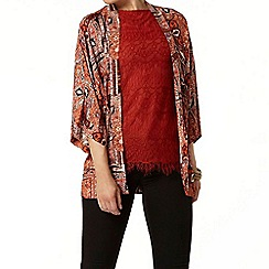 Dorothy Perkins - Terracotta long line lace top