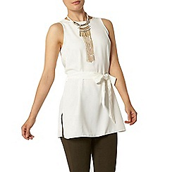 Dorothy Perkins - Ivory sleeveless tie tunic top