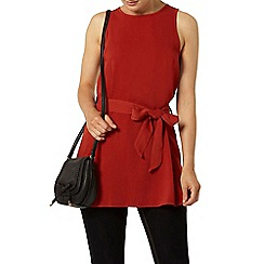 Dorothy Perkins - Terracotta sleeveless tie tunic top