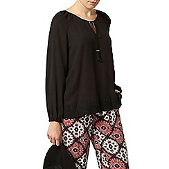 Dorothy Perkins - Black cutwork long sleeve top