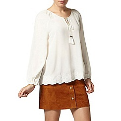 Dorothy Perkins - Ivory cutwork long sleeve top