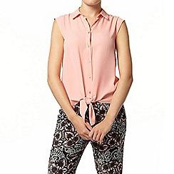Dorothy Perkins - Pink tie front sleeveless shirt