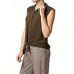 Dorothy Perkins - Khaki tie sleeveless shirt