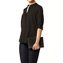 Dorothy Perkins - Black collarless rollsleeve shirt