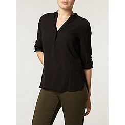 Dorothy Perkins - Black half placket roll sleeve shirt