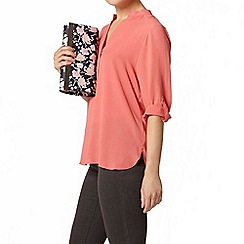 Dorothy Perkins - Coral collarless rollsleeve shirt